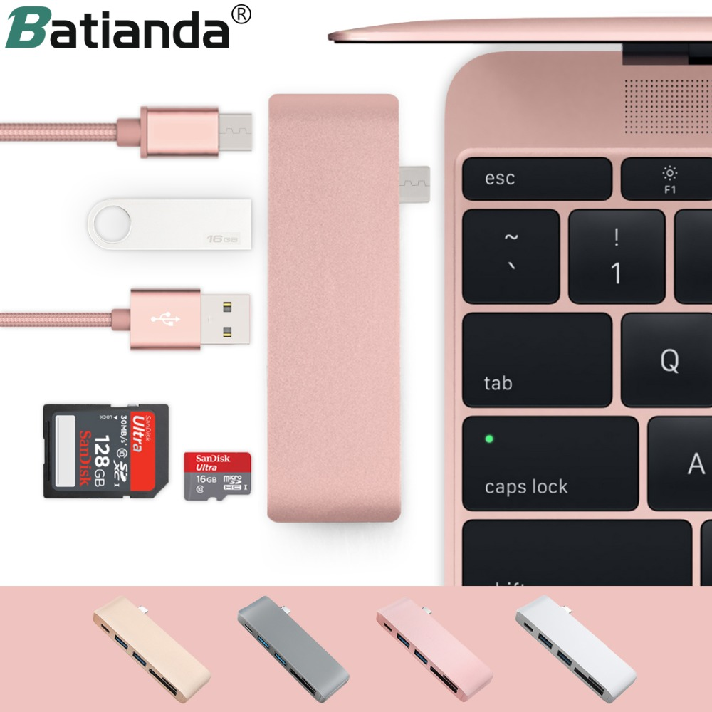 5 In 1 USB-C Adapter With 2 USB 3.0 Ports Micro SD Memory Reader Type-C USB 3.0 Hub For New Macbook Pro Air A1932 / Retina 12