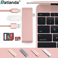 5 in 1 USB C Adapter with 2 USB 3.0 Ports Micro SD Memory Reader Type C USB 3.0 Hub For New Macbook Pro Air A1932 / Retina 12