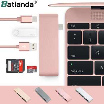 5 in 1 USB-C Adapter with 2 USB 3.0 Ports Micro SD Memory Reader Type-C USB 3.0 Hub For New Macbook Pro Air A1932 / Retina 12 - DISCOUNT ITEM  37% OFF All Category