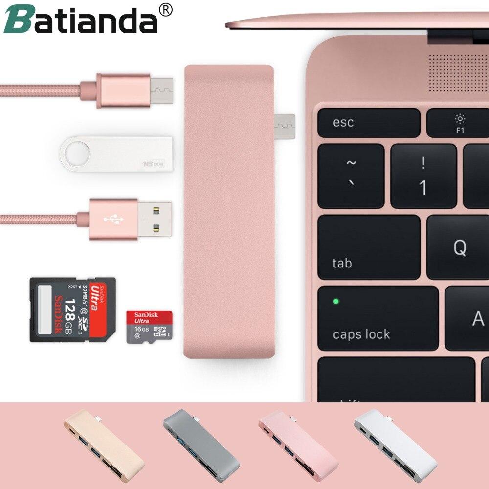 Adaptador com 2 5 em 1 USB-C Portas USB 3.0 cartão de Memória Micro SD Leitor Tipo-C Hub USB 3.0 para Novo Macbook Pro Ar A1932/Retina 12