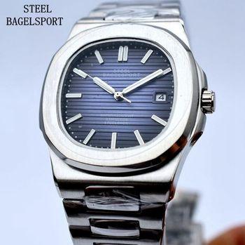 STEELBAGELSPORT Brand Luxury Automatic Mechanical Watch Classic Dial 40mm Full Steel Sport Watch Men Business Clock Fashion Gift Переносные часы