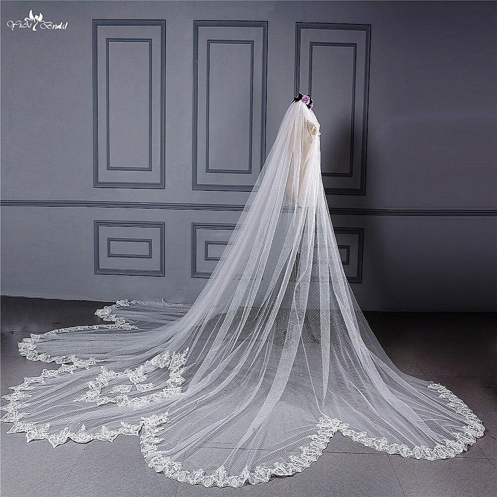 RSV114 реальные фотографии Yiaibridal Свадебные аксессуары точки Тюль купе кайма свадебная фата