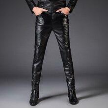 c654add7cf8b4f Nowe Spodnie Na Co Dzień dla Mężczyzn Męskie Skórzane Spodnie Punk Rock  Styl Szczupły Mężczyzna PU Skórzane Spodnie Motocyklowe