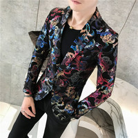 2019 Male Suit Blazer Flower Gold Print Party Wedding Festival Stylish Blazers For Men Stage Costumes Singers Slim Fit Jacket
