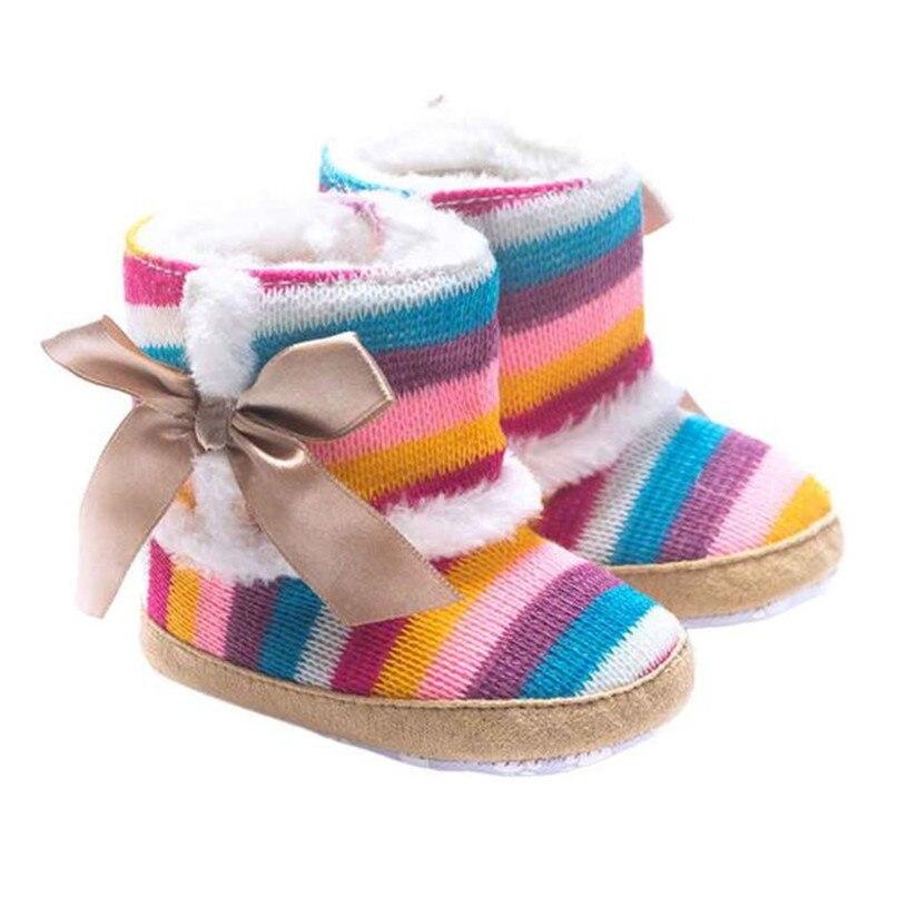 1 Para Baby Mädchen Stiefel Baby Mädchen Regenbogen Bowknot Weiche Sohle Schnee Stiefel Weiche Krippe Schuhe Kleinkind Winter Stiefel Bota Infantil D10 Duftendes Aroma
