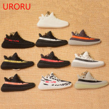 URORU mini BOOST 350 V2 Shoes Keychain Bag Charm Woman Men Kids Key Ring Key Holder Gift S P L Y 350 Sneaker Silicone Key Chain(China)