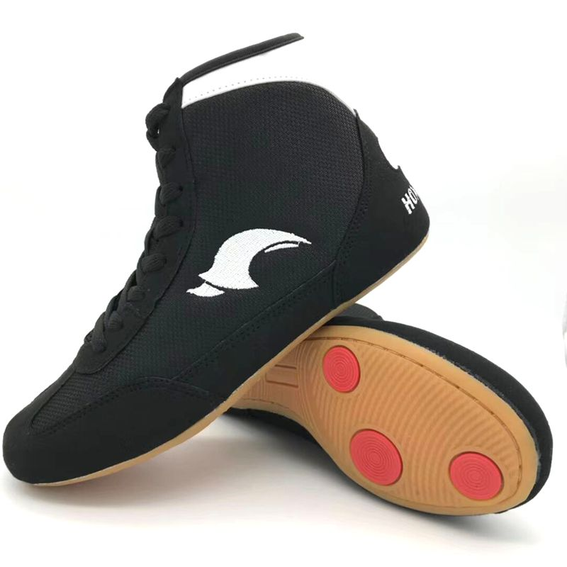 Professional Boxing Wrestling Shoes Rubber Outsole Breathable Combat Sneakers Lace-up training fighting boots Plus Size 35-46