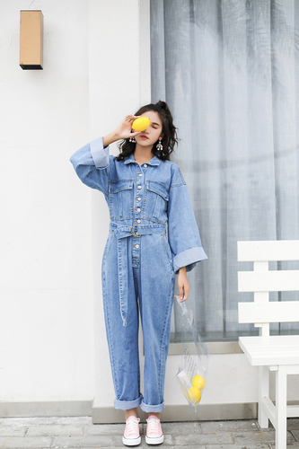 new concept d9b2a d87fc US $34.21 35% OFF|Autumn New Long Sleeve Jumpsuit Denim Woman Overalls  Loose Tutine Estive Donna Fashion Overalls Jeans For Women-in Jumpsuits  from ...