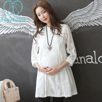 af930aae7 2017   Hollow Out Front plisado blanco encaje maternidad blusas 9015  Primavera Verano ropa para mujeres embarazadas suelta embarazo Tops