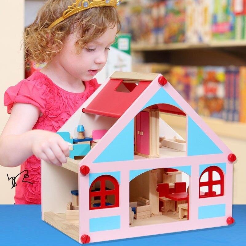 39x26x36 см детская деревянная кукольная игрушка/Детская деревянная кукольная вилла с миниатюрной мебелью и марионетками подарок на день рожд...