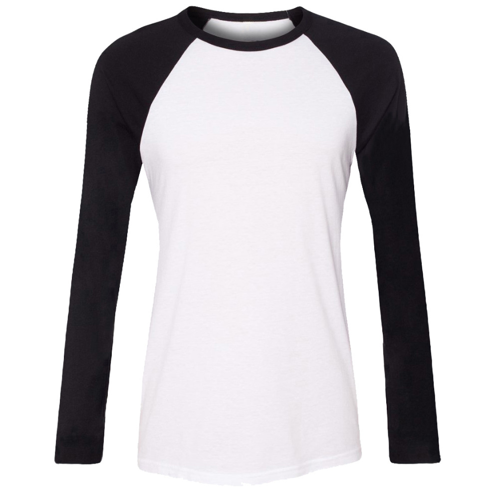 iDzn Brand Clothing New Fashion Sommar Casual Women T-shirts Lady Svart Röd Tjej Raglan Långärmad O-Neck T-shirt Toppar S-2XL