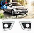 2 Pçs/set Super Brilhante DRL LEVOU Luz Do Dia drl led luzes Diurnas à prova d' água Para Toyota Corolla 2014 2015 com névoa lâmpada