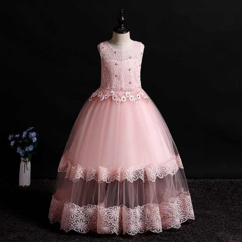 4-14 years girl wedding princess dress / Handmade beading tutu dress / openwork flowers children elegant host evening dress