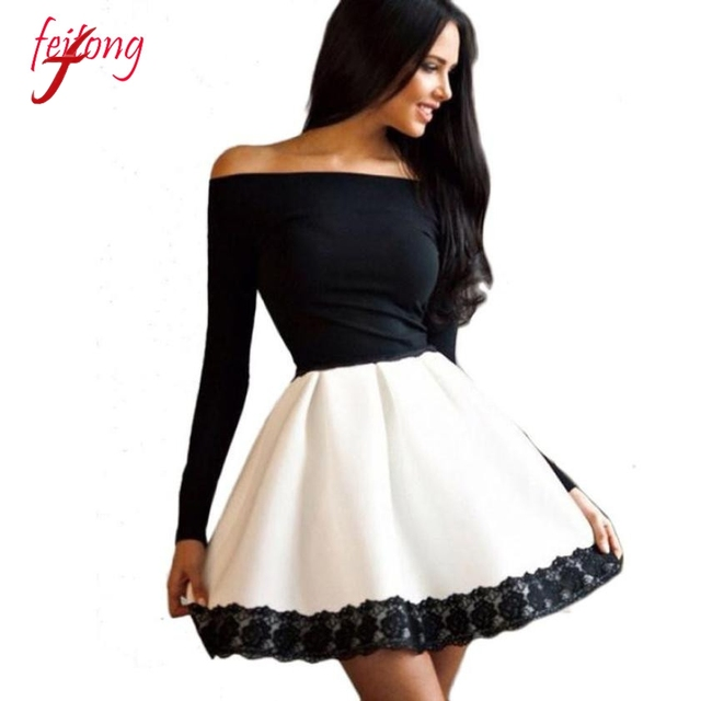 ba04b91c288c Sexy Women Party Dress Casual Long Sleeve Off Shoulder Slash Neck A-Line Short  Dress Vestidos de Festa Black White Dresses Girl