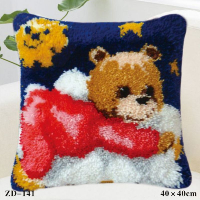 Cartoon Latch Hook Rug Canvas Embroidery Pillow Crochet Animal Kit Handmade Craft Cushio ...