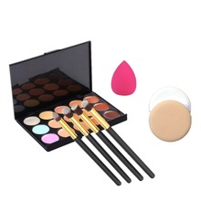 15 Color Concealer Contour Makeup Palette+4pcs Eyeliner Brush Makeup Brushes+ Air Puff+ Costmetic Puff Women Facial Makeup Set