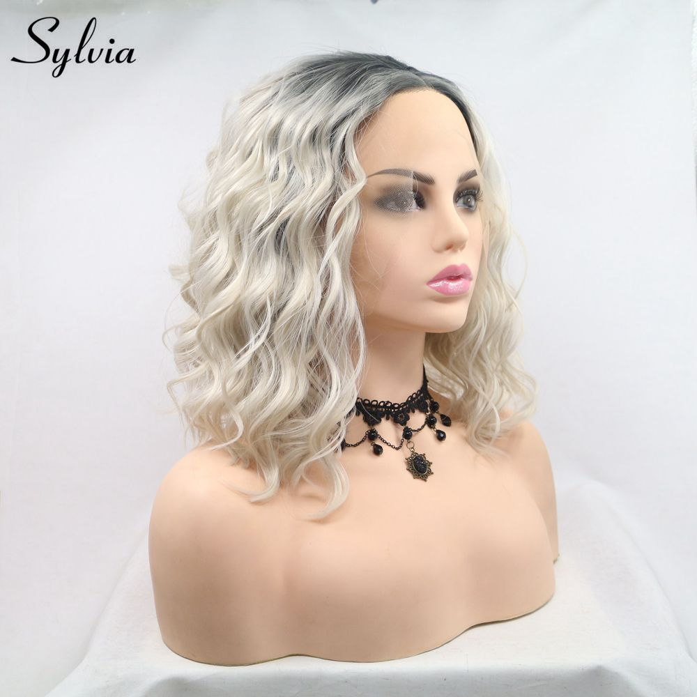 Sylvia Short Curly Wigs Blonde Bob Hair Lace Front Wig Dark Root Ombre Synthetic Hair Women