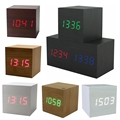 Hot USB/AAA Powered Cube LED Digital Alarm Clock Square Modern Sound Control Wood Clock Display Temperature Night Light