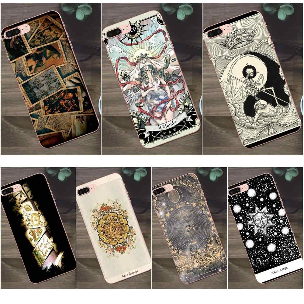 Top Détaillée Populaire TPU Transparent Carte De Tarot Pour Apple iPhone 4 4s 5 5C SE 6 6 S 7 8 Plus X Galaxy A3 A5 J1 J2 J3 J5 J7 2017