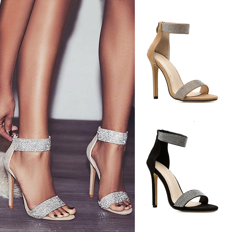 New Rhinestone Women Pumps Shine High Heels Women Shoes Fashion Women Sandals Zipper Sexy Wedding Shoes Stiletto Classic Pumps