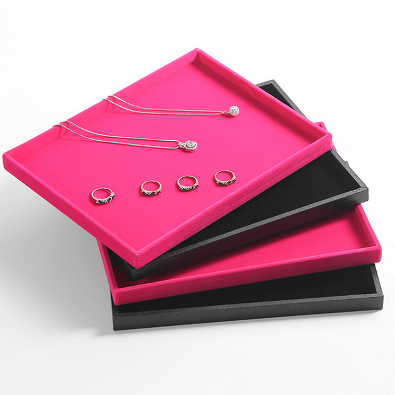 24.5*19*1.5cm Small Jewelry Necklace Tray Jewelry Organizer Earrings Rings BraceletS Flat Empty Plate Jewelry Display Stand