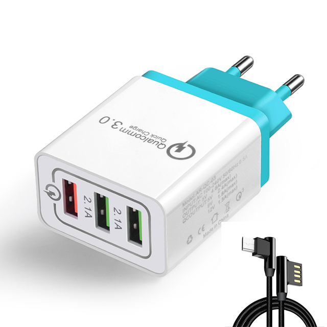 5V 2.4A Max QC 3.0 Universal Charger for Huawei Xiaomi Universal Qc 3.0 Fast Travel Wall Charger For ios Eblow Cable For android
