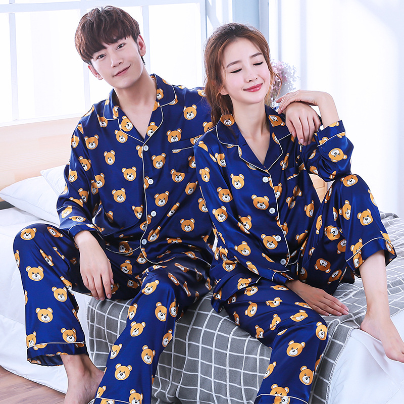 Men's Sleep & Lounge Bzel Woman Man Pajamas Set Sleepwear Couple Pajamas Satin Nightwear Long Sleeve Homewear His-and-hers Clothes Leisure Home Cloth Refreshment