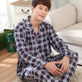 Summer sleepwear male 100% cotton long-sleeve plaid stripe plus size 100% cotton casual male lounge set winter