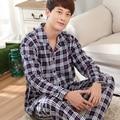 Summer sleepwear male 100% cotton long-sleeve plaid stripe plus size 100% cotton casual male lounge set winter