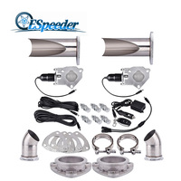 ESPEEDER 2.5'' Stainless Steel Exhaust Cut Out Headers Catback Pair Remote Control Valve Electric Exhaust Cutout Be Cut Pipe Kit