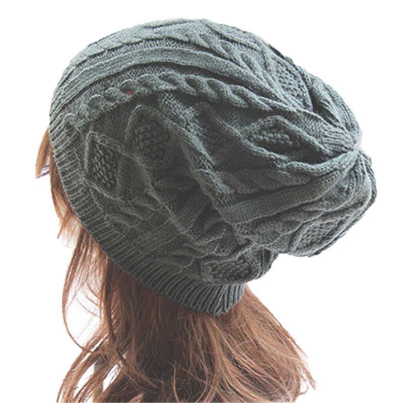 Fashion Male Lady Women's Knit Winter Warm Crochet Hat Braided Baggy Beret Beanie Cap For Women