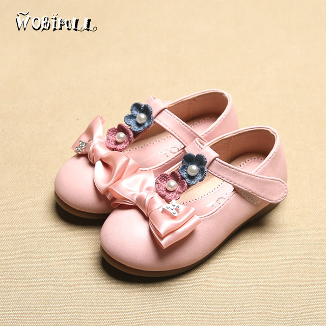 WOBIPULL 2017 spring kids Female Soft bottom Leather shoes baby Girls sweet princess dance shoes children casual shoes  21-26