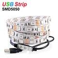 RGB LED Strip USB LED Strip Light DC5V SMD5050 Flexible Light LED Strips Tape 50CM 1M 2M Decoration Lamps With 3keys Mini Remote