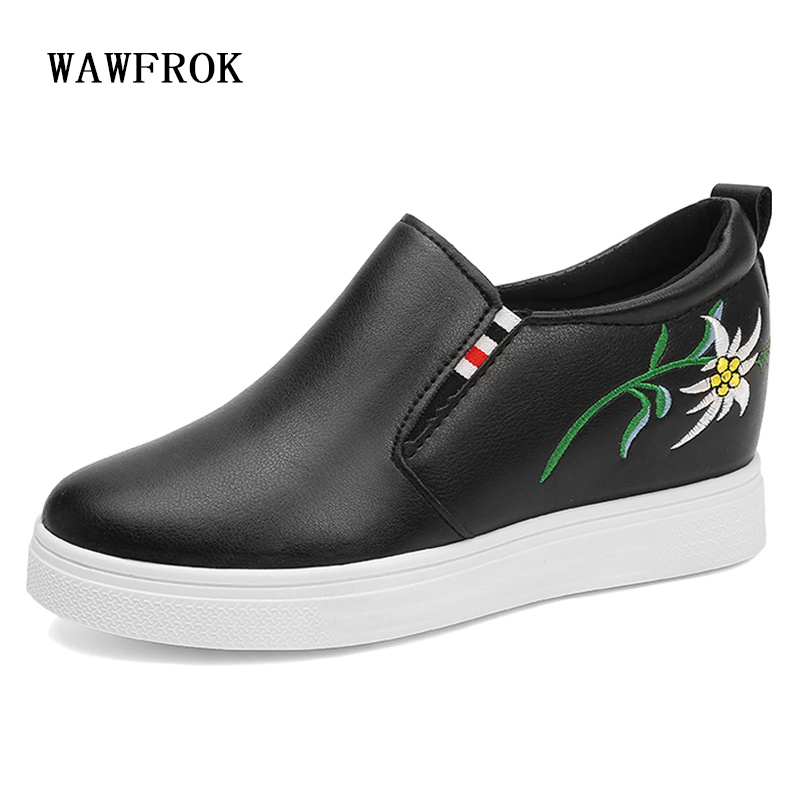 WAWFROK Women Casual Shoes 2018 Summer Spring Shoes Woman Platform Fashion Embroidered Breathable Increases Women Sneakers