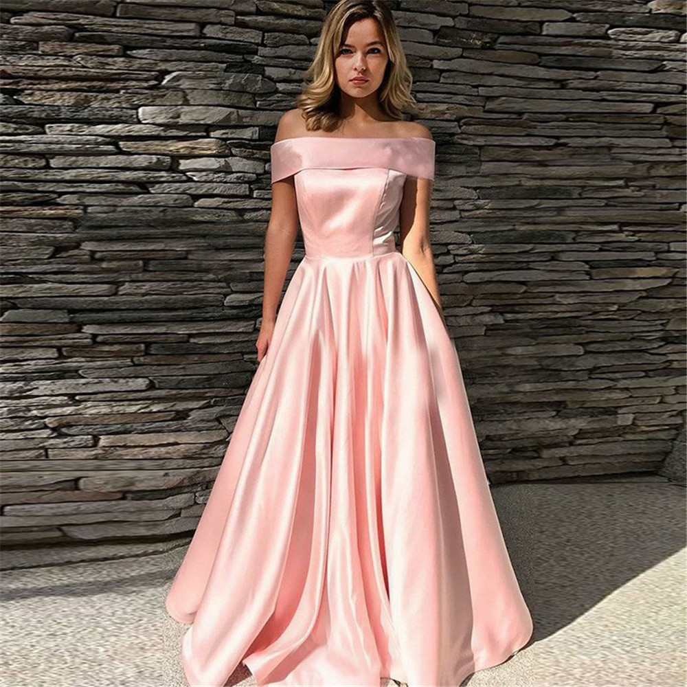Elegant Pink Long Dress Evening Boat Neck Off The Shoulder A Line Satin Formal Dresses 2019 Cheap Women Occasion Gown Plus Size formal wear