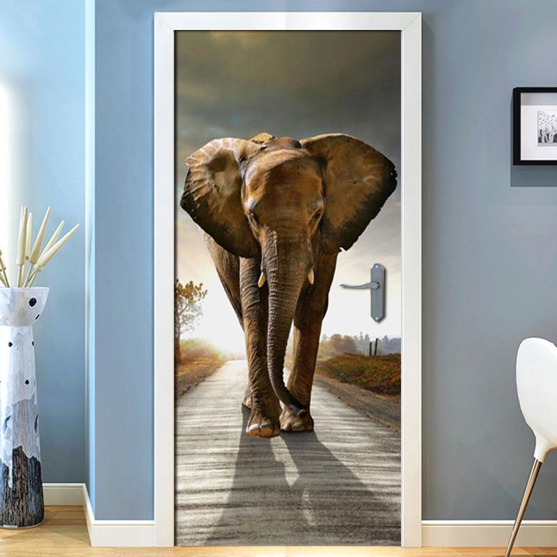 Delicieux Highway Elephant Living Room Bedroom Door Mural Sticker PVC Adhesive  Waterproof Wallpaper Home Decoration Door Sticker Mural