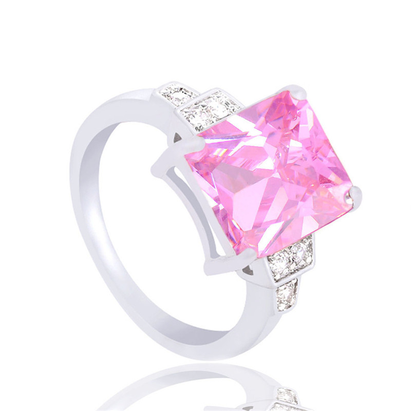 Buy big shiny cz diamond pink color rings Trendy womens gifts 2015