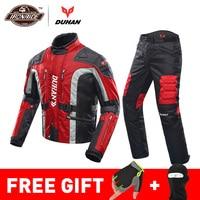 DUHAN/осенне-зимняя куртка для мотоцикла с защитой от холода, мото + защитные штаны, мото костюм, одежда для путешествий, комплект защитной экип...