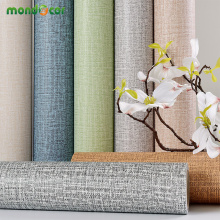 Modern Removable PVC Waterproof Home Decor Wall Sticker Solid Color Linen Wall Decal for Room Background Self Adhesive Wallpaper