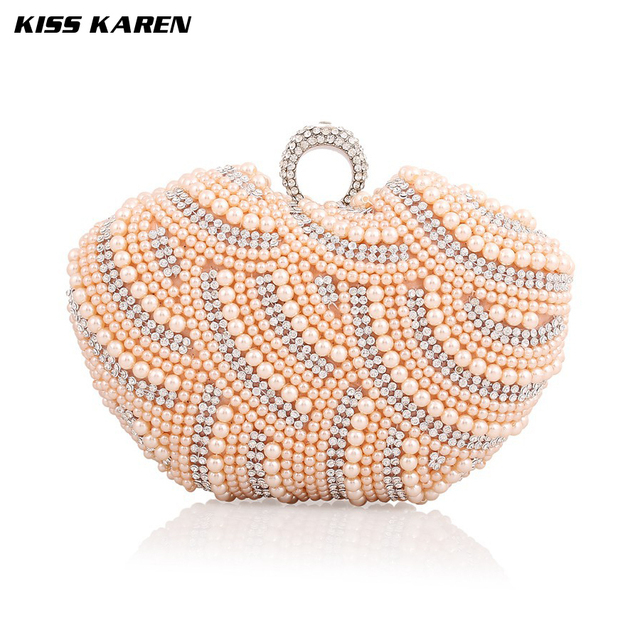 Kiss Karen Elegant Pearl Beading New Fashion Women's Clutches Evening Bags Women Party Clutch Bag Club Elegant Lady Minaudiere