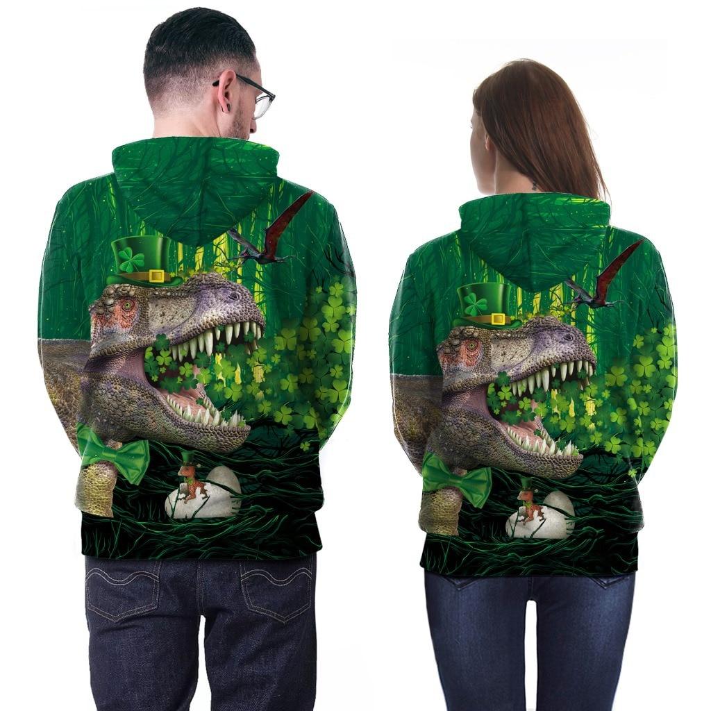 Tyrannosaurus Rex Green Clover Irish Festival Hoodie