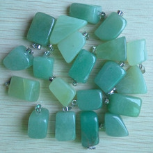 2017 hot sell good quality green aventurine stone irregular pendants fit neckalce jewelry making charms 50pcs/lot  Wholesale