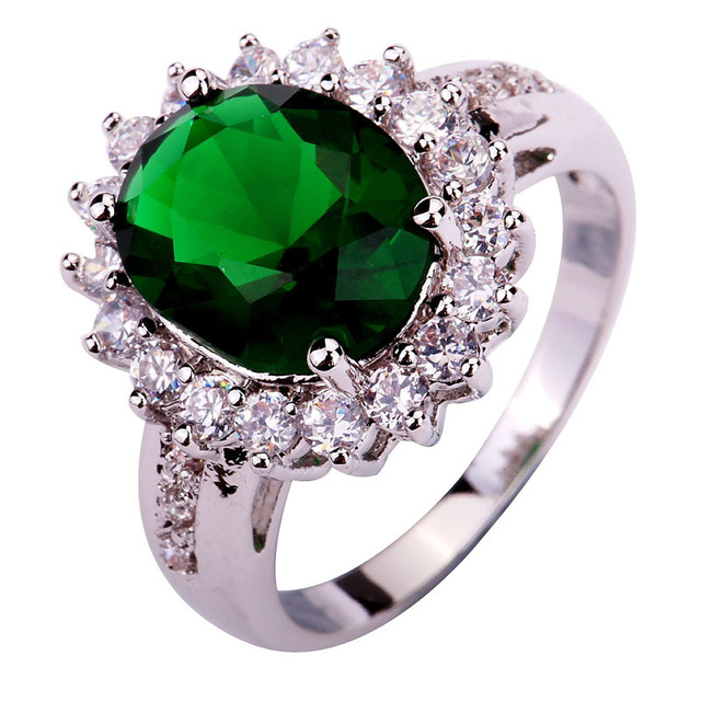 lingmei   2017 New Fashion Design Green    Silver Color Ring Size 6 7 8 9 10 Wholesale  For Women Jewelry