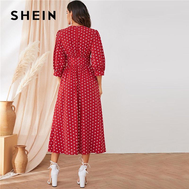 Shein Burgundy Polka Dot Maxi Dress Women's Dresses Women's Shein Collection