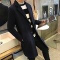 2016 Hot New Long Mens Trench Coat Wool Turn-down Collar Winter Casual Solid Woolen Overcoat Men Gothic Trench Coat Men