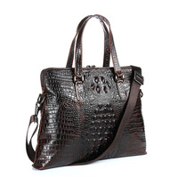 Genuine Leather Laptop Bag 13 14 Inch For Men Crocodile Pattern Leather Notebook Bag Brown Cow