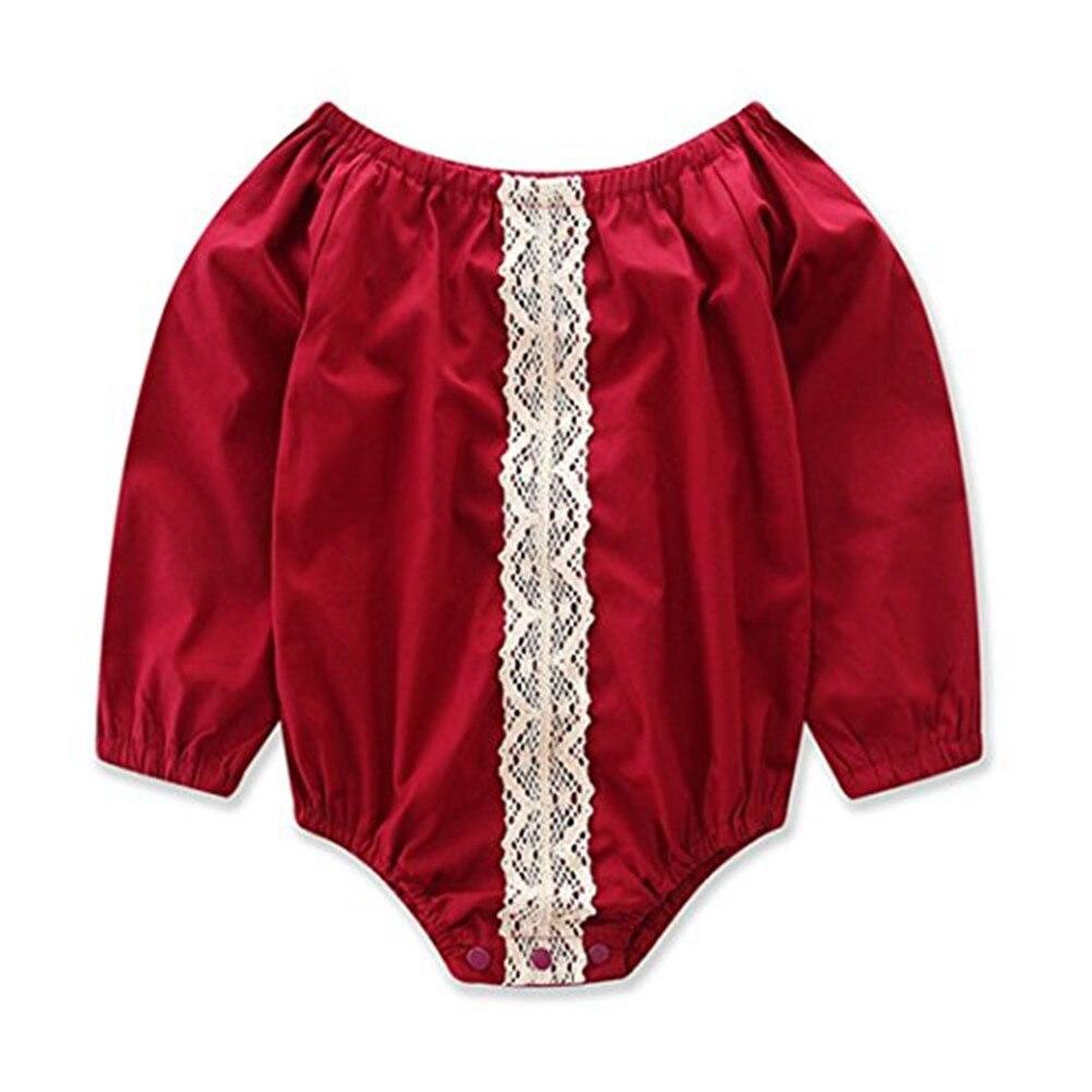 GRNSHTS Newborn Baby Girl Romper Long Sleeve Onesies Lace Outfits Set Princess Jumpsuit Sunsuit 0-24M