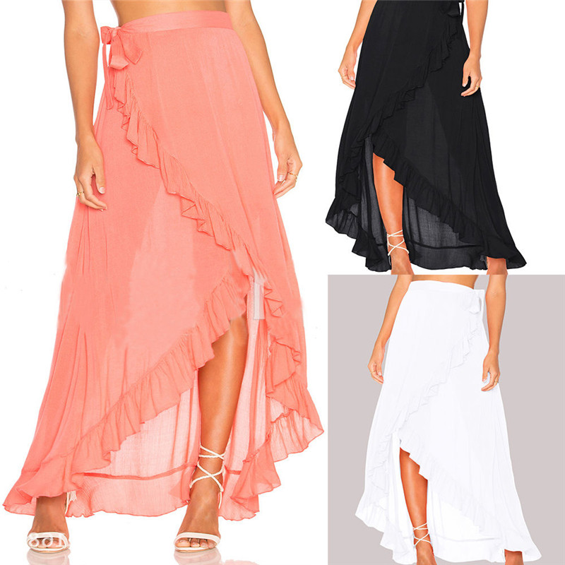 Elegant Summer Skirts Women Solid Black White Pink Ruffles Pleated Casual Skirts Female High Waist Lace Up Long Skirts For Women