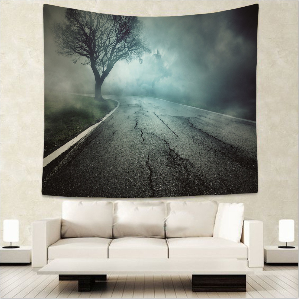 Psychedelic Tapestries Watercolor Green Forest Landscape Wall Hanging Couches Love Home Decoration Bedspreads Large Woven Custom in Tapestry from Home Garden