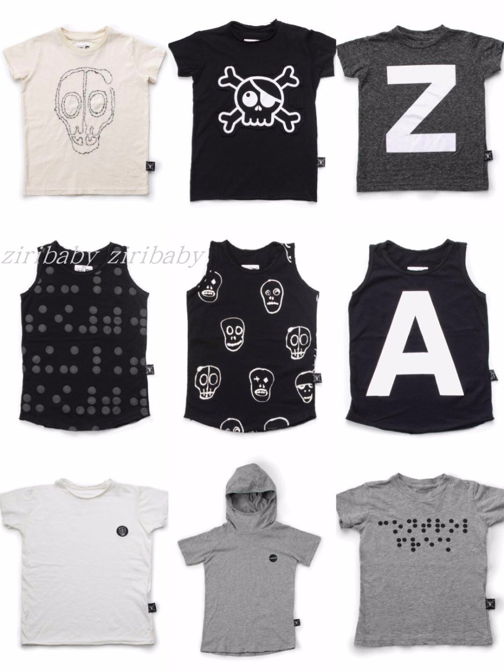 2018 NUNUNU SLEVELESS cotton skull printed tops T SHIRTS BOYS CLOTHING GIRLS CLOTHING VE ...